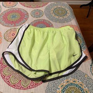 GREAT Nike Tempo neon yellow/gray/white shorts
